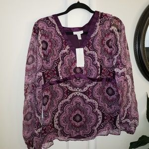 Charter Club Purple Patterned blouse sheer overlay
